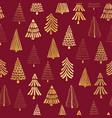 hand drawn christmas tree gold foil on red pattern vector image