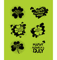 happy Patricks day set of emblems Logos for Irish vector image