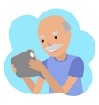Happy senior man with tablet in hands vector image vector image