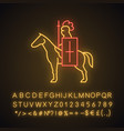 horse knight with flag neon light icon vector image
