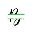 initial b grass monogram split letter isolated vector image
