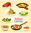 italian dishes of pasta meat fish and vegetables vector image vector image