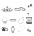 jewelry and accessories monochrome icons in set vector image