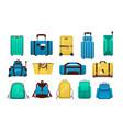 luggage cartoon travel plastic suitcases vector image