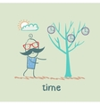man grows a tree with clock vector image vector image