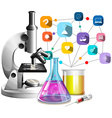 Microscope and glass beakers vector image