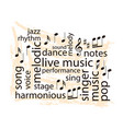 music word collage - notes and words on grungy vector image