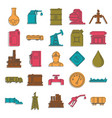 oil and gas industry doodle icons set vector image vector image