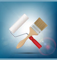 paint brush and roller construction and repair vector image