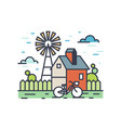 picturesque outline countryside landscape vector image vector image