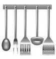 realistic metal kitchen utensils set vector image