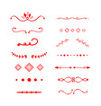 red dividers decoration line drawing element vector image vector image