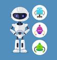 robot standing calmly set vector image vector image