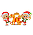 set girl and boy santas helpers with straw vector image vector image