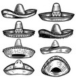 set mexican sombrero in tattoo style isolated vector image vector image