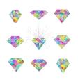 Set of polygonal mosaic diamonds vector image vector image