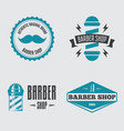 set vintage barber shop logo labels badges vector image