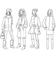 set with sketches of fasion girls vector image