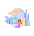 shopping online concept flat design tiny woman vector image vector image