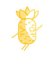silhouette kawaii cute funny pineapple fruit vector image vector image