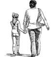 sketch a woman with her little daughter vector image vector image