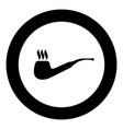 smoking pipe icon black color in circle vector image vector image