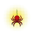 Spider icon in comics style vector image