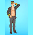 stripper in pilot uniform pop art vector image vector image