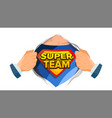 super team sign superhero open shirt with shield vector image vector image