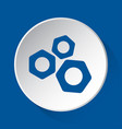 three nuts - simple blue icon on white button vector image