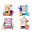 vending machine set with characters vector image vector image