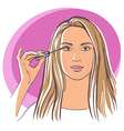Women doing makeup vector image