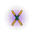 Wooden sword bokken icon comics style vector image vector image