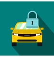 Yellow car with padlock icon flat style vector image vector image