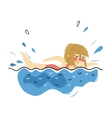 girl swimming on pool in summer vacation vector image