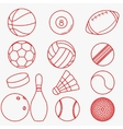 Sport balls red thin line design vector image