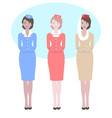 stewardess in different national uniform vector image