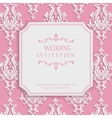 Pink Vintage Invitation Card with 3d Floral vector image