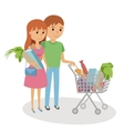 Young woman and man shopping for groceries vector image