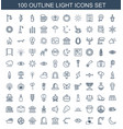 100 light icons vector image vector image