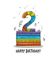 2th anniversary celebration greeting card vector image