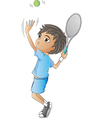 A young boy playing tennis vector | Price: 1 Credit (USD $1)