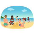 adults and children making sandcastles and having vector image