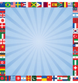 background with flags icons frame vector image
