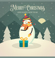 beautiful retro christmas card with snowman vector image vector image