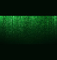 binary matrix 1 0 bits green abstract background vector image