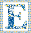 Blue letter E vector image vector image