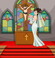 Bride at wedding in the church vector image vector image