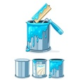 Buckets with blue paint and vector image vector image