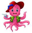 cartoon octopus in summer hat vector image